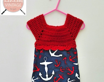 Vintage styled shabby chic baby dress, sailor nautical theme.