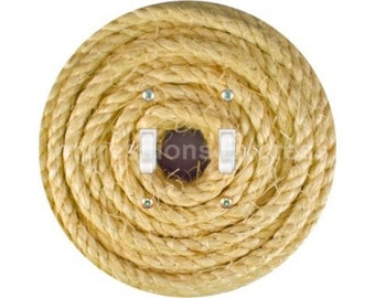Nautical Sisal Rope Double Toggle Switch Plate Cover