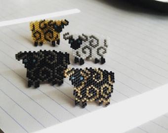 Beaded Sheep Pin