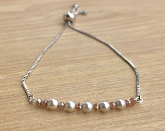 Silver slide and pull pearl and crystal bracelet, spring jewelry, gifts for her