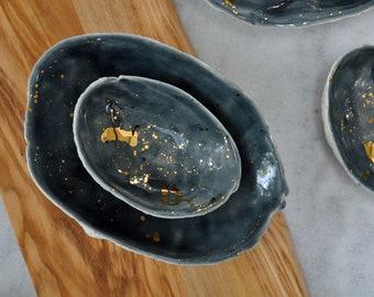 Small Gold Splatter Abalone Bowl - Gray Gold Small Porcelain Bowl,  Beach Decor Ring Dish Trinket Dish Soap Dish Gold Small Bowl