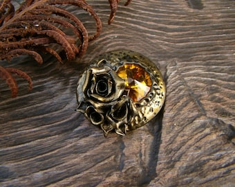 Rose and Crystal Brooch Vintage Bronze Yellow Crystal