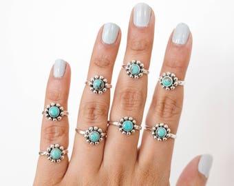 Flower Ring * Turquoise Rings * Turquoise Ring Stack *  Silver Ring * Stacking Rings * Cute Ring * Silver * Rings For Women * Handmade Ring