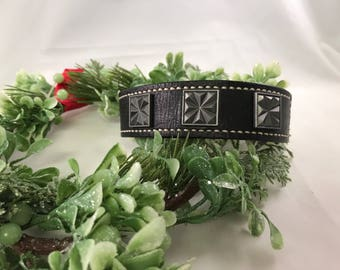 Hand Stained Layered Black Leather Layered Cuff Bracelet with Stud Embellishments
