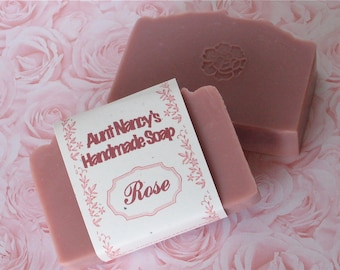 Rose Handmade Soap - Mild Gentle Homemade Soap Scented with Classic Rose Fragrance - Olive Oil Cold Process Soap