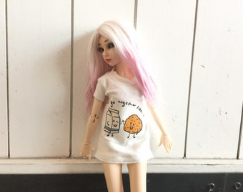 Bjd 1/4 Scale t-shirt Dress (we go together like... milk and cookies t-shirt) for Minifee