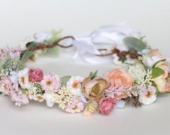 Pastel Paradise Silk Flower Crown- Adjustable