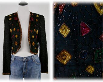 1980s Beaded and Sequined Bolero Jacket by Styleworks Size 10