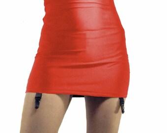 High waisted red shiny spandex mini skirt black suspenders