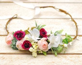 Spring Wedding flower crown Floral headband Bridal hair wreath Flower Girl Crown Floral Hair Wreath Wedding flower halo Bridal hair wreath