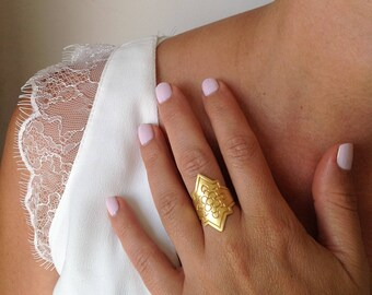 Plated Gold Ring, Large Ring, Unique Ring, Artisan Ring, Elegant Ring, Gold Rings for Women, Gold Plated Statement Ring, Women's Rings