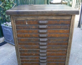 Victorian Industrial Caslon 12 Drawer Printers Chest - Shipping Not Included