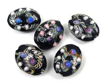5 Lampwork Handmade Glass Black Lace Oval Beads (L1175)