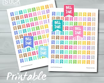 Bill Due Printable Stickers - JPG Sticker Sheet - Fits Erin Condren Planner or any other planner or notebook ! Planner Stickers