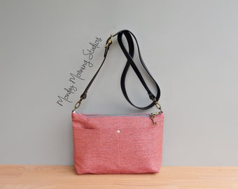 Coral Pink Tweed Womens Purse with Leather Strap, Spring and Summer Everyday Bag, Handmade Plus Size Classic Business Purse, Made in the USA