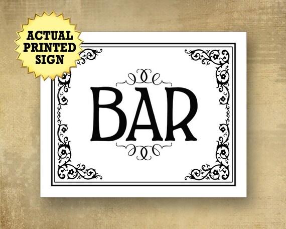 Bar sign, Black and white bar sign, victorian bar sign, boho wedding, traditional wedding bar signs, wedding signs, black white wedding sign