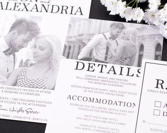 Stylish Greyscale - SAMPLE Wedding Invitation Suite - Wedding Invite SAMPLE - Personalized Wedding Invitations - Full Wedding Suites