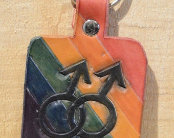 Double Male Symbol - Rainbow Pride Peace Sign Keychain