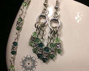 Verdant Summer Beaded Chain and Earrings
