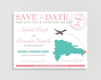 Destination Wedding Save the Date - Magnet and Kraft Paper Available - DIY Printable or Printed - Destination Love #00100-STDA2