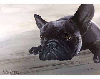"Pup Study 10 - Original acrylic on board 5x7"""