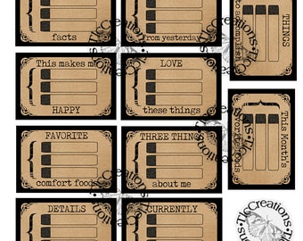 Just the Basics, Printable Vintage Journal Cards, Fill in the Boxes, Journal Prompts