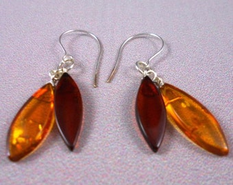 Baltic Cognac Amber Marquise earrings