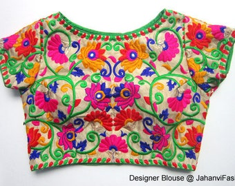 Readymade Boat Neck Embroidery Saree Blouse - Multicolor embroidry blouse - All Sizes - Sari Blouse - Saree Top - Sari Top - For Women