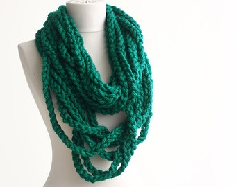 Teal green crochet infinity scarf  necklace fashion scarf loop scarf christmas gift for her mothers gift winter