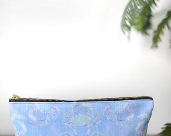 zipper pouch blue crab tropical print