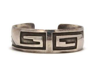 Navajo Roland Brady Geometric Cuff Bracelet, Sterling Silver, Native American, Unixex Bracelet, Vintage Jewelry