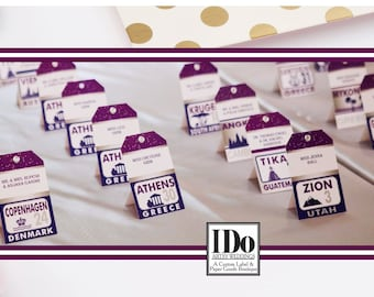 Travel Placecards - Wedding Reception Place Cards - Luggage Tag Placecards - Seating Cards - Find Your Seat - Custom Escort Cards