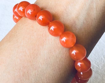 natural Nanhong red agate beaded bracelet natural stone bracelet lucky gift good luck present