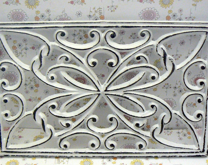 Retangle Heart Swirl Cast Iron Trivet Hot Plate White Shabby Chic French Kitchen Dining Decor