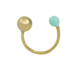 14k Gold Plated Mint Green Sun Moon Ring // Contemporary Design, Modern, Enameled, Gold Ring