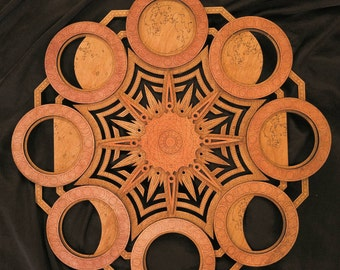 Moon Phases Mandala Multilayer Laser Cut Wood Sculpture Sacred Geometry Celestial Meditation Yoga Wicca Visionary Art