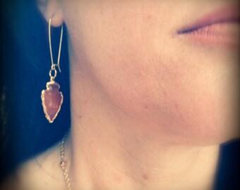 Raw Stone Earrings,Arrowhead Earring,Arrowhead Jewelry,Gold Arrowhead,Carnelian Earring,Orange Carnelian,Native American Jewelry,Raw Stone