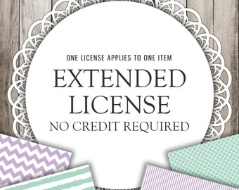 Extended License: Sea Reed Creative -  NO CREDIT REQUIRED, Commercial Use License - 1 Digital Paper Pack or 1 Clipart Set
