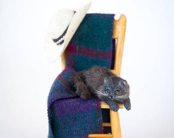 Dollhouse Miniature Gray Scottish Fold Exotic Cat Artist Furred Laying Down OOAK