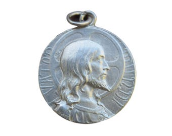 Jesus Christ Salvator Mundi Medal by LO Mattei - French Religious Sterling Silver Pendant - HolyFace of Jesus Medal - Catholic Necklace