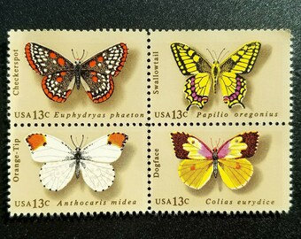 Four (4) vintage unused postage stamps - Butterflies // 13 cent stamps // Face value 0.52