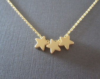 Triple Gold Star Necklace