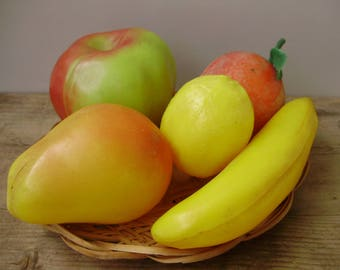 5 Pieces of Vintage Realistic Rubber Fruit ,table decoration,Autumn decor