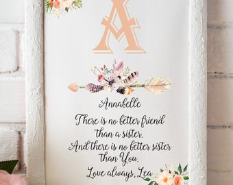 Sister Gift for sister Sister print Sister birthday Personalized sister Big sister Brother to sister Sister gift ideas From sister to sister