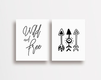 Printable Wall Art Inspirational Quote - 5 Sizes - Wild & Free / Arrows