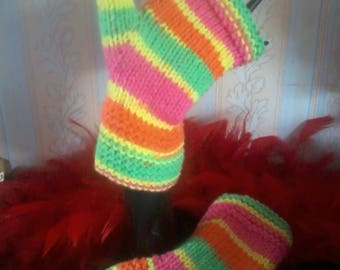 """Neon"" wool and acrylic fingerless gloves"
