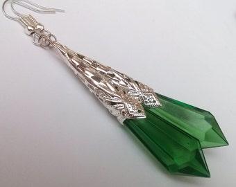 Art Deco Earrings , Green Earrings , Green Teardrop Earrings , Silver Earrings , Statement Earrings , Handmade Jewelry , Long Earrings