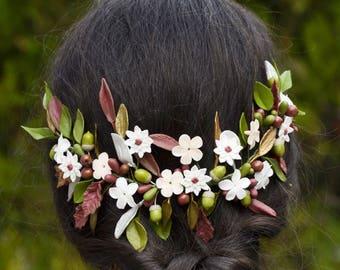 Tocado de porcelana, tocado de flores , flores de porcelana, porcelana fría, tocado de novia, novia boho, novia vintage, tiara de flores