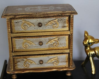 """Gorgeous Vintage Carved Gold jewelry box,Gold Jewelry chest Armoire gold,Japan 3 Drawers ,ornate Musical Jewelry box """"Someday My Love"""""""