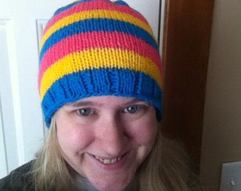 Pansexual pride striped winter hat